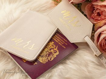 "PERSONALISED HONEYMOON ""MRS"" PASSPORT COVER & LUGGAGE TAG SET"