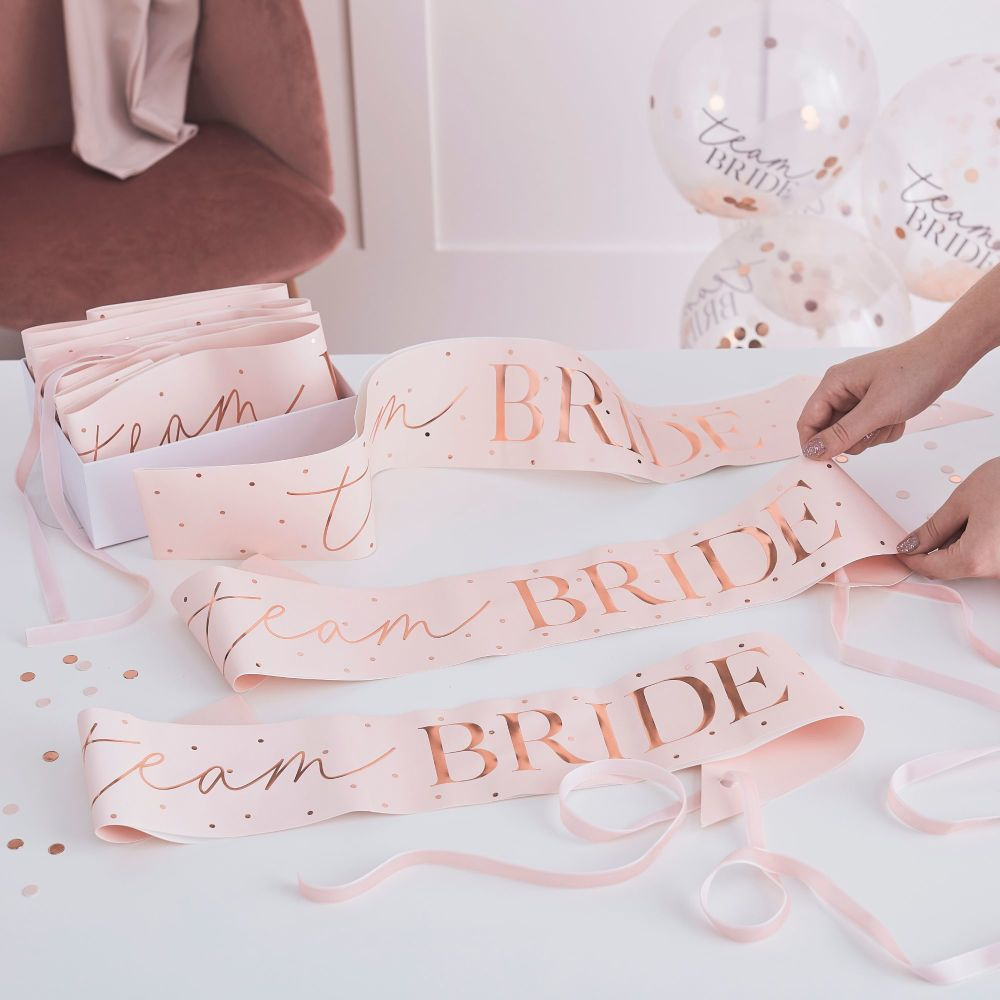 PINK AND ROSE GOLD TEAM BRIDE HEN PARTY SASHES 6 PACK