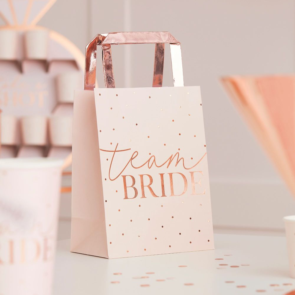 PINK TEAM BRIDE ROSE GOLD FOILED HEN PARTY BAGS (PACK OF 5)