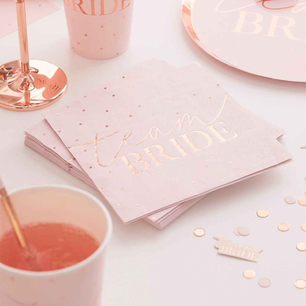 ROSE GOLD FOILED HEN PARTY NAPKINS (PACK OF 16)