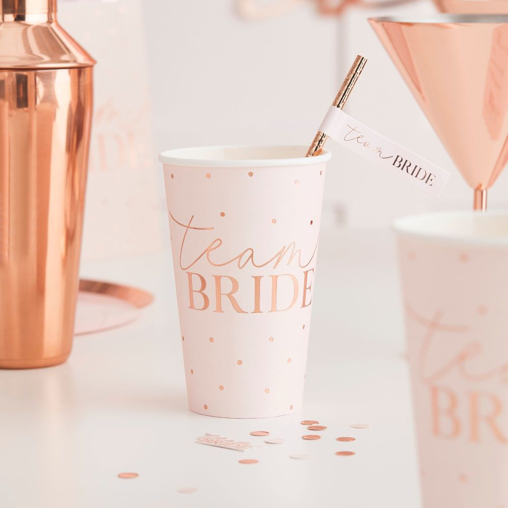 ROSE GOLD TEAM BRIDE LARGE HEN PARTY CUPS (PACK 8)
