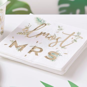 GOLD FOILED ALMOST MRS HEN PARTY NAPKINS (PACK OF 16)