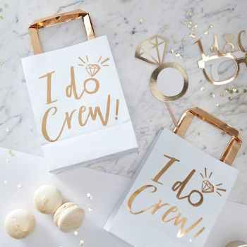 GOLD FOILED I DO CREW PARTY BAGS - I DO CREW (PACK OF 5)