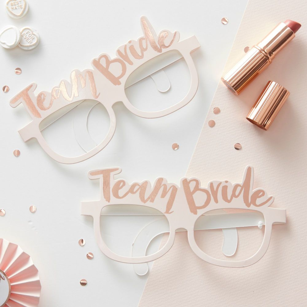 PINK & ROSE GOLD TEAM BRIDE HEN PARTY GLASSES - TEAM BRIDE (PACK OF 8)