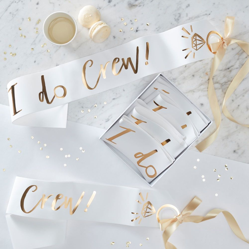 WHITE AND GOLD FOILED I DO CREW SASHES - I DO CREW (PACK OF 6)