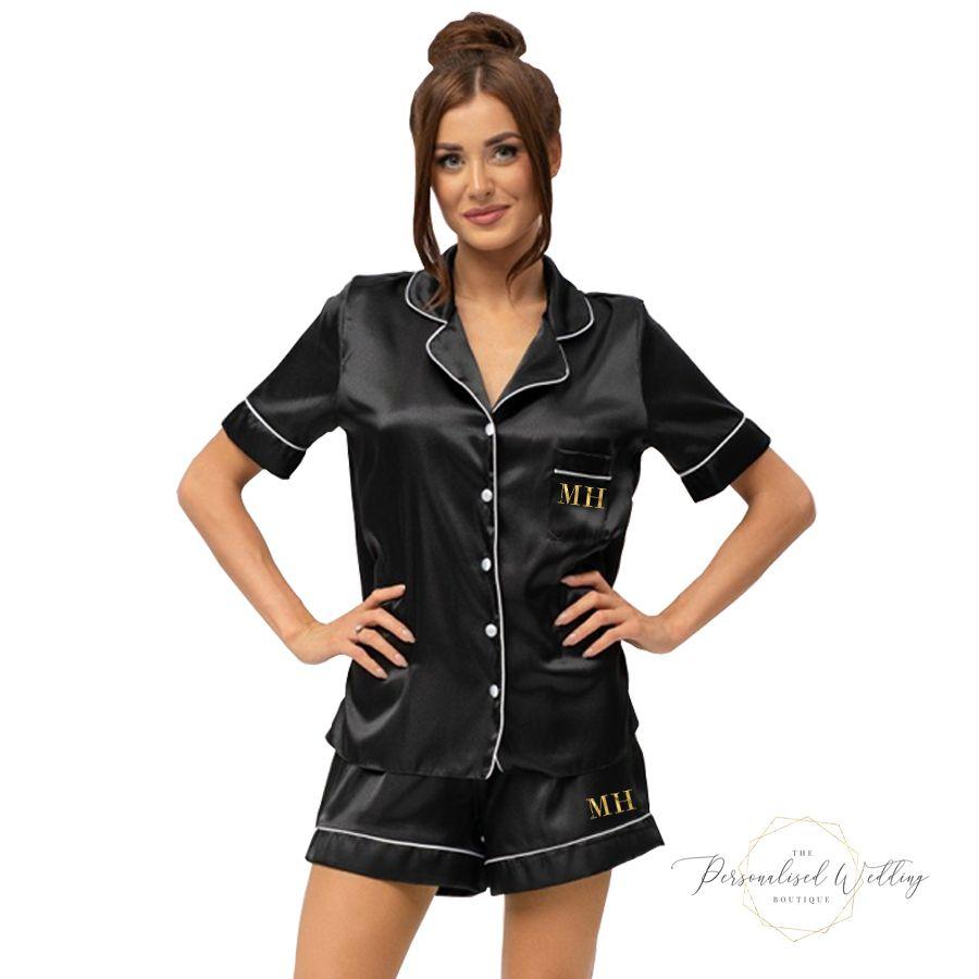 Ladies Satin Short Piped Pyjamas
