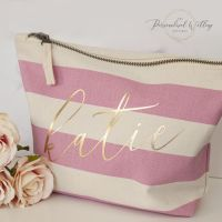 PERSONALISED PINK STRIPE CANVAS COSMETICS CASE