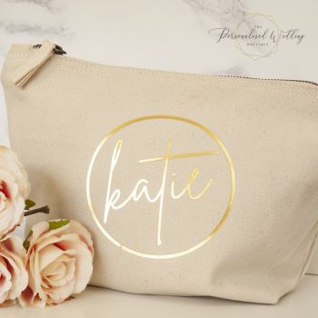 PERSONALISED NAME NATURAL CANVAS COSMETICS CASE