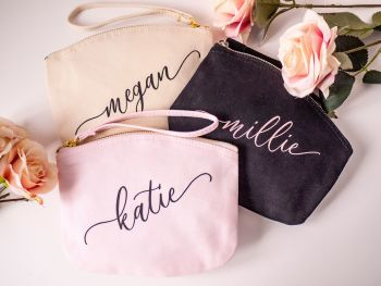 PERSONALISED CANVAS WRISTLET POUCHES