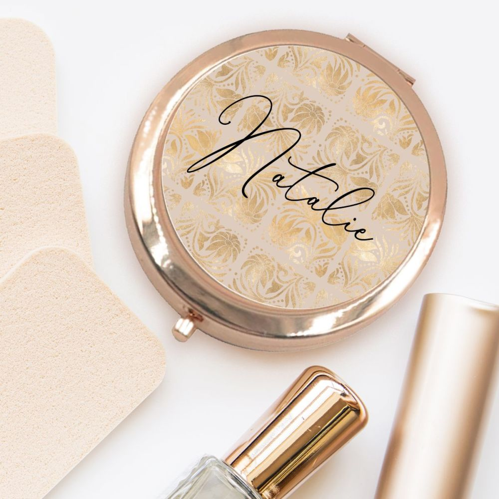 PERSONALISED COMPACT MIRROR (GOLD GEO)
