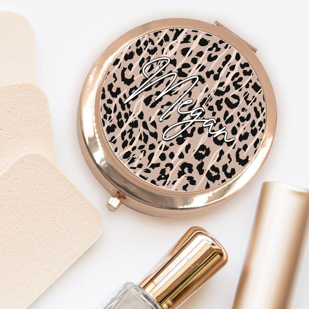 PERSONALISED COMPACT MIRROR (LEOPARD)