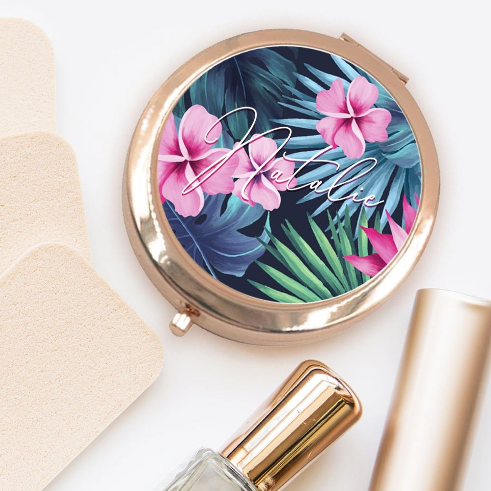 PERSONALISED COMPACT MIRROR (NEON TROPICAL)