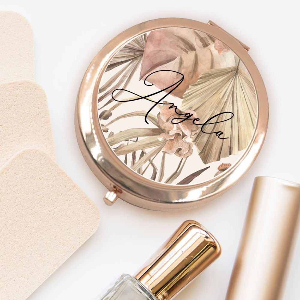 PERSONALISED COMPACT MIRROR (BROWN TROPICAL)