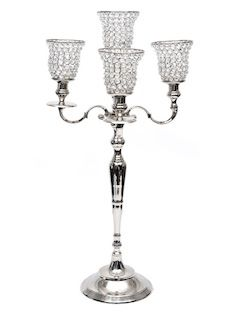 Brass & Crystal Candelabra  Silver Plate FInish