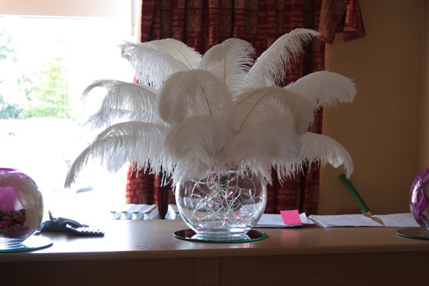 Fish Bowl Feather Centrepiece