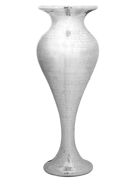POLYRESIN SHAPELY MIRROR MOSAIC VASE 116CM - SILVER