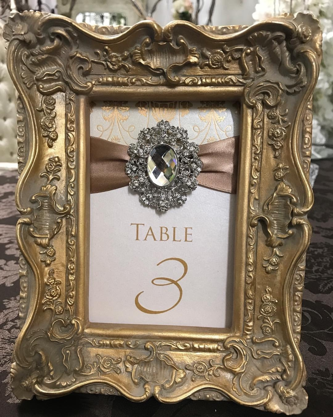 Table Number Frame  Gold
