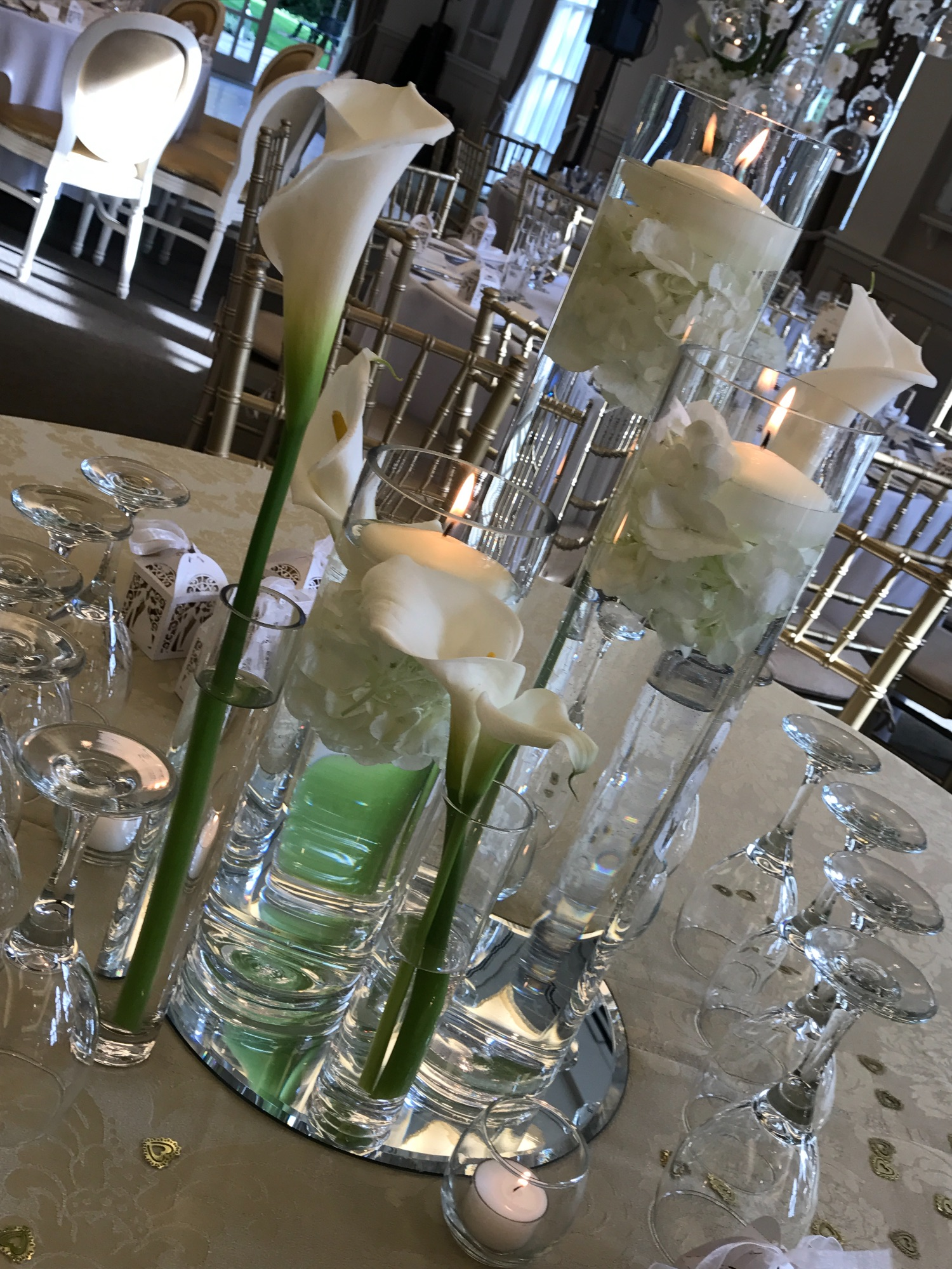 Cylinder vases with Calla lilies
