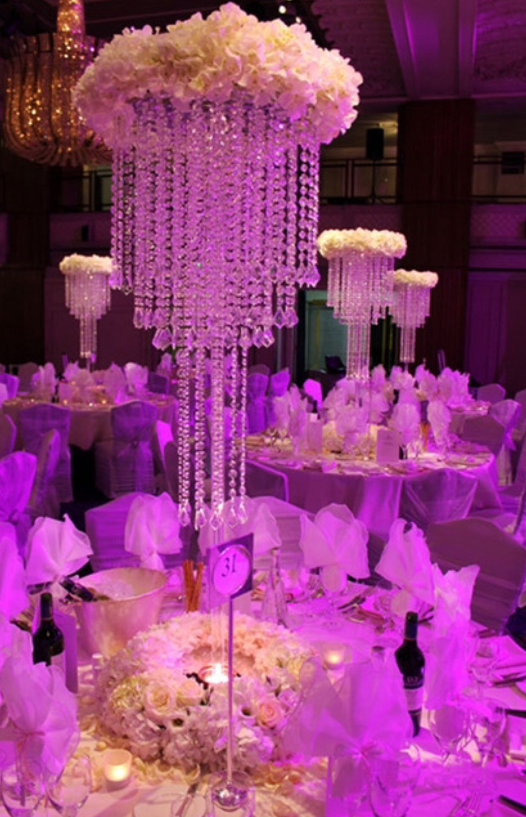 Table crystal chandelier  with fresh flower base