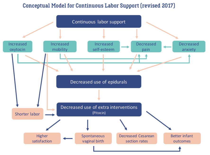 Image showing a flow chart of the benefits of continuous support in labour.