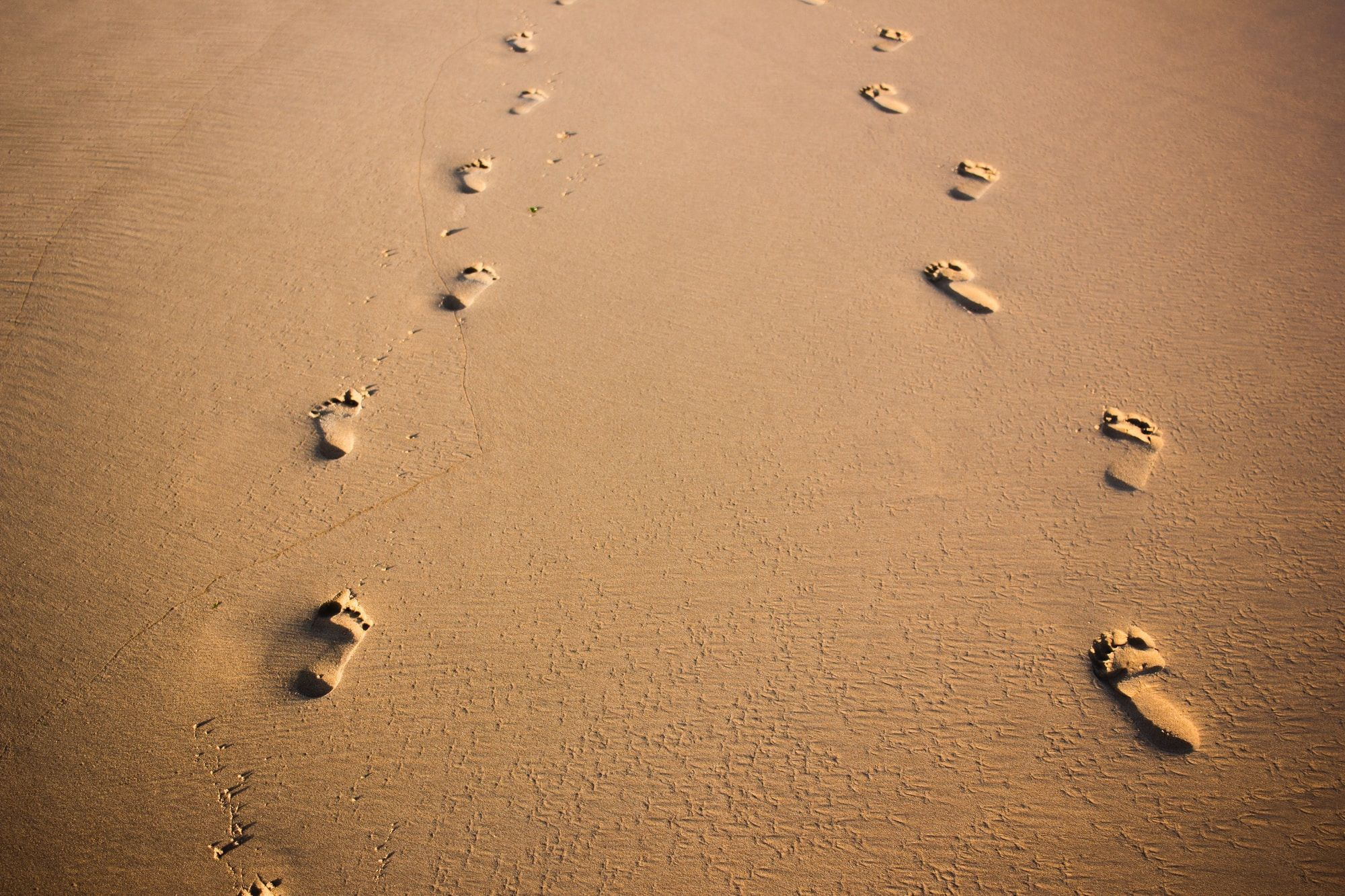Two sets of footprints walking side by side in sand.