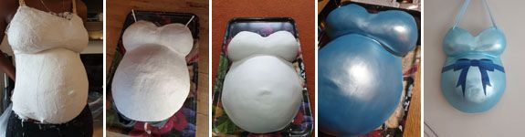 A series of images showing the making of the bellycast