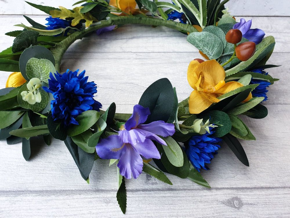 Yellow and Blue Flower Crown
