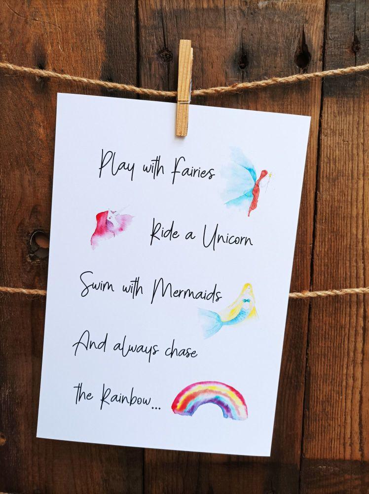 Fairies, mermaids, unicorns and rainbows