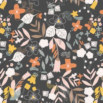 Dashwood - Emi & The Bird Flowers 100% Cotton Fabric - Charcoal - Per Half Metre