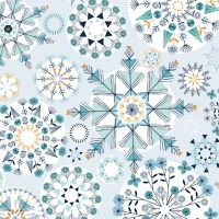 Dashwood - Skogen Snowflake Metallic 100% Cotton Fabric - SKOG1529 - Blue & Metallic