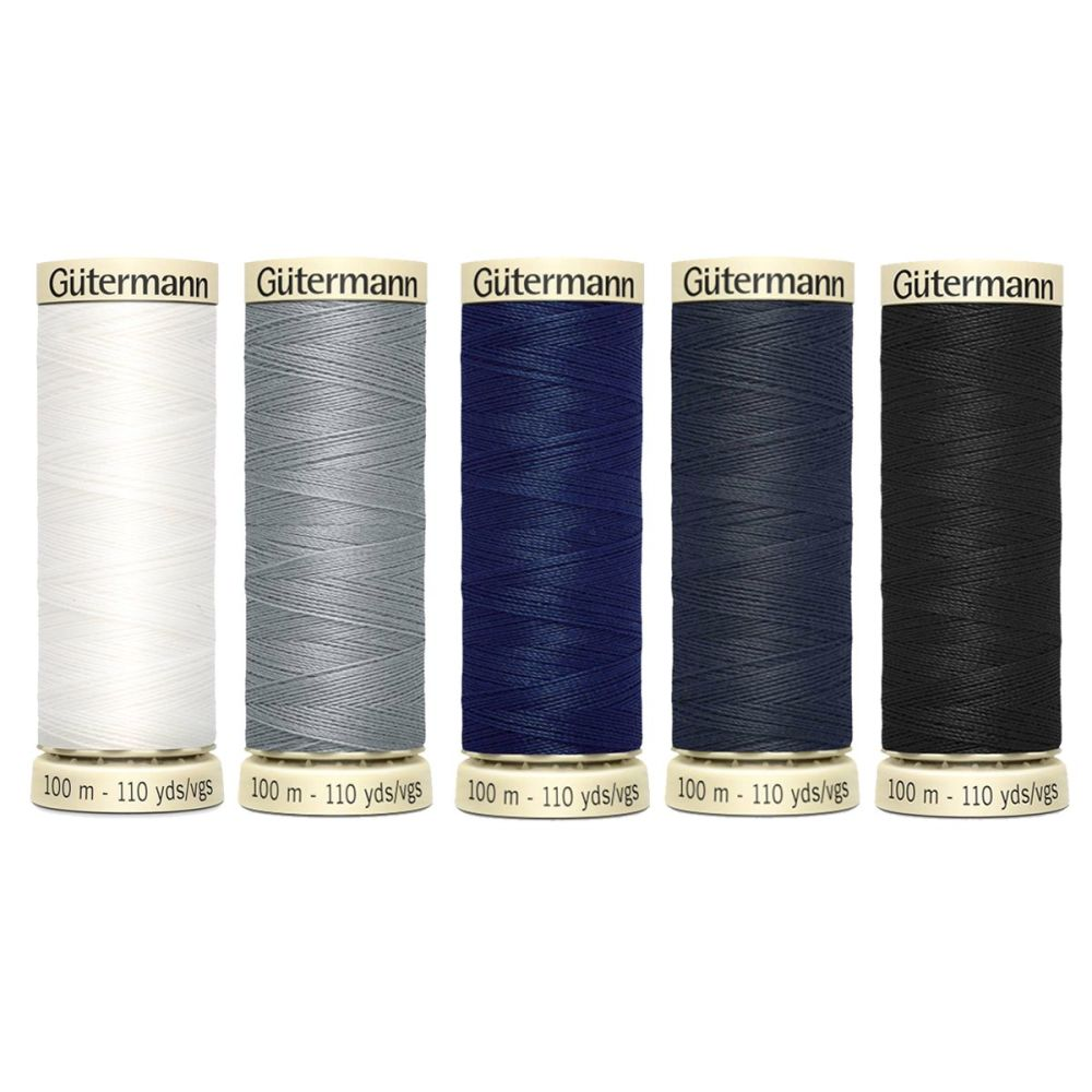 Gutermann Pack of 5 x 100m Sew All Thread - Core Colours