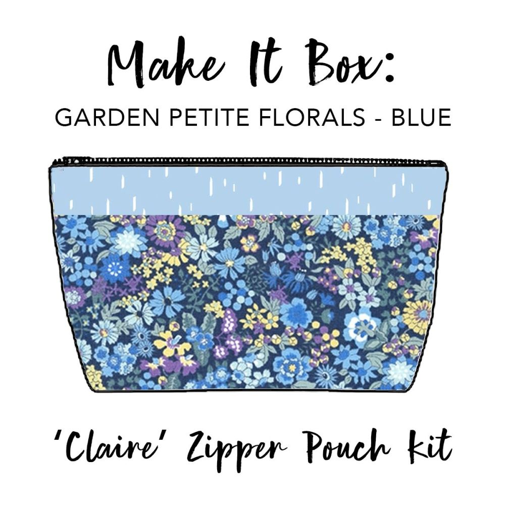 Make It Box - 'Claire' Zipped Pouch Kit - Petite Garden Floral Blue