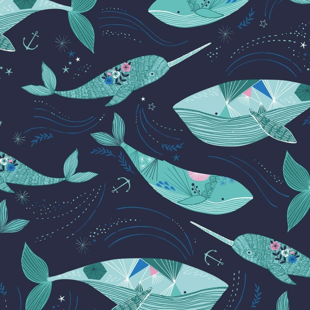 Dashwood - Into The Blue 100% Cotton Fabric - Whales