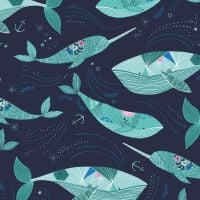 Dashwood Studio - Into The Blue 100% Cotton Fabric - Whales