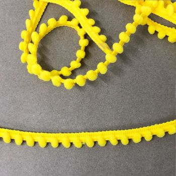 Baby 9mm Pom Pom Trim - Yellow -  Sold Per Metre