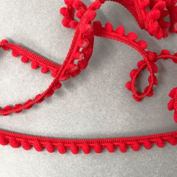Baby 9mm Pom Pom Trim - Red -  Sold Per Metre