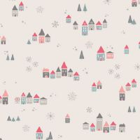 Art Gallery Fabrics - Little Town 100% Cotton Fabric - Snowdrift Joy