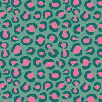 Dashwood Studio - Night Jungle 100% Cotton Fabric - Leopard Green/Pink