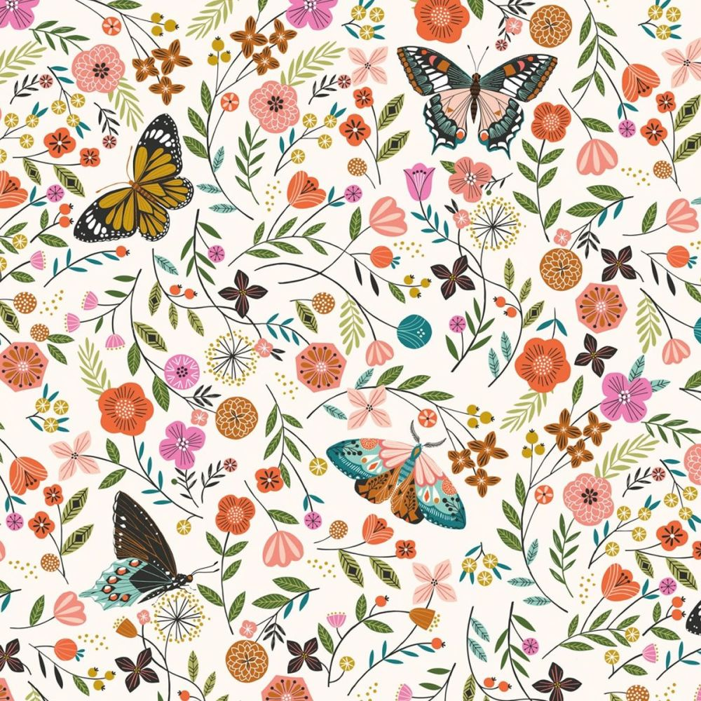 PREORDER Dashwood Studio - Aviary 100% Cotton Fabric - White Butterfly Flor