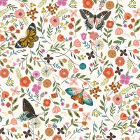 Dashwood Studio - Aviary 100% Cotton Fabric - White Butterfly Floral