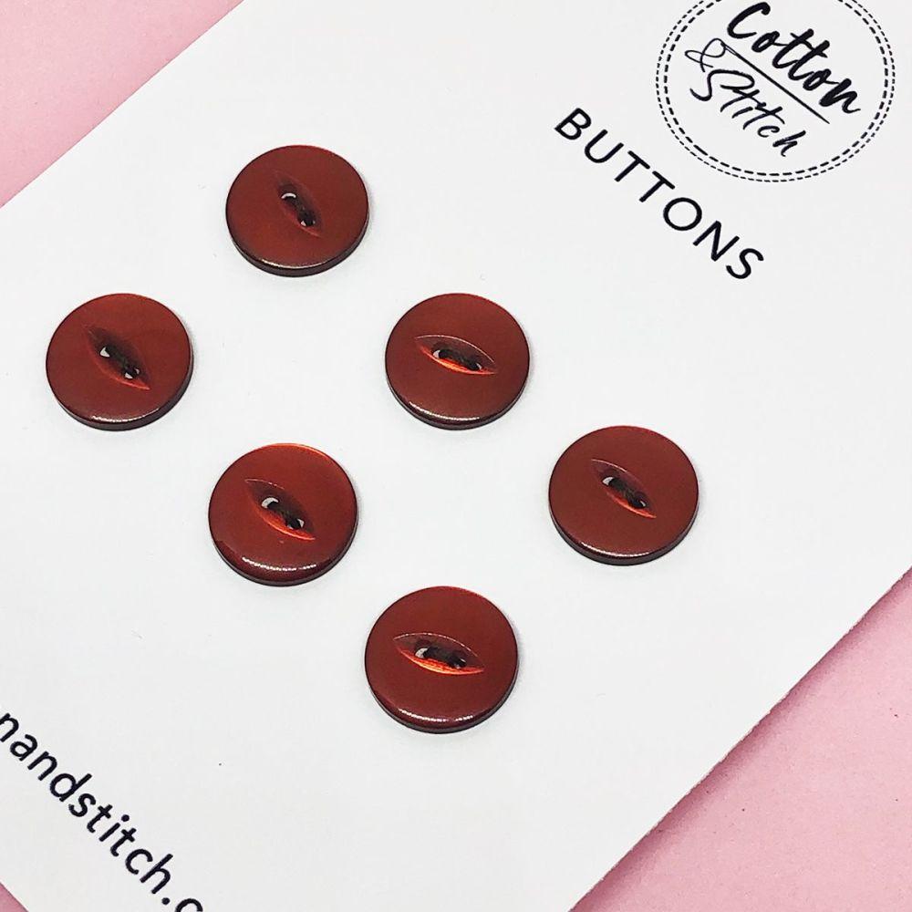 6x Red Shiny Buttons - 1.6cm Diameter