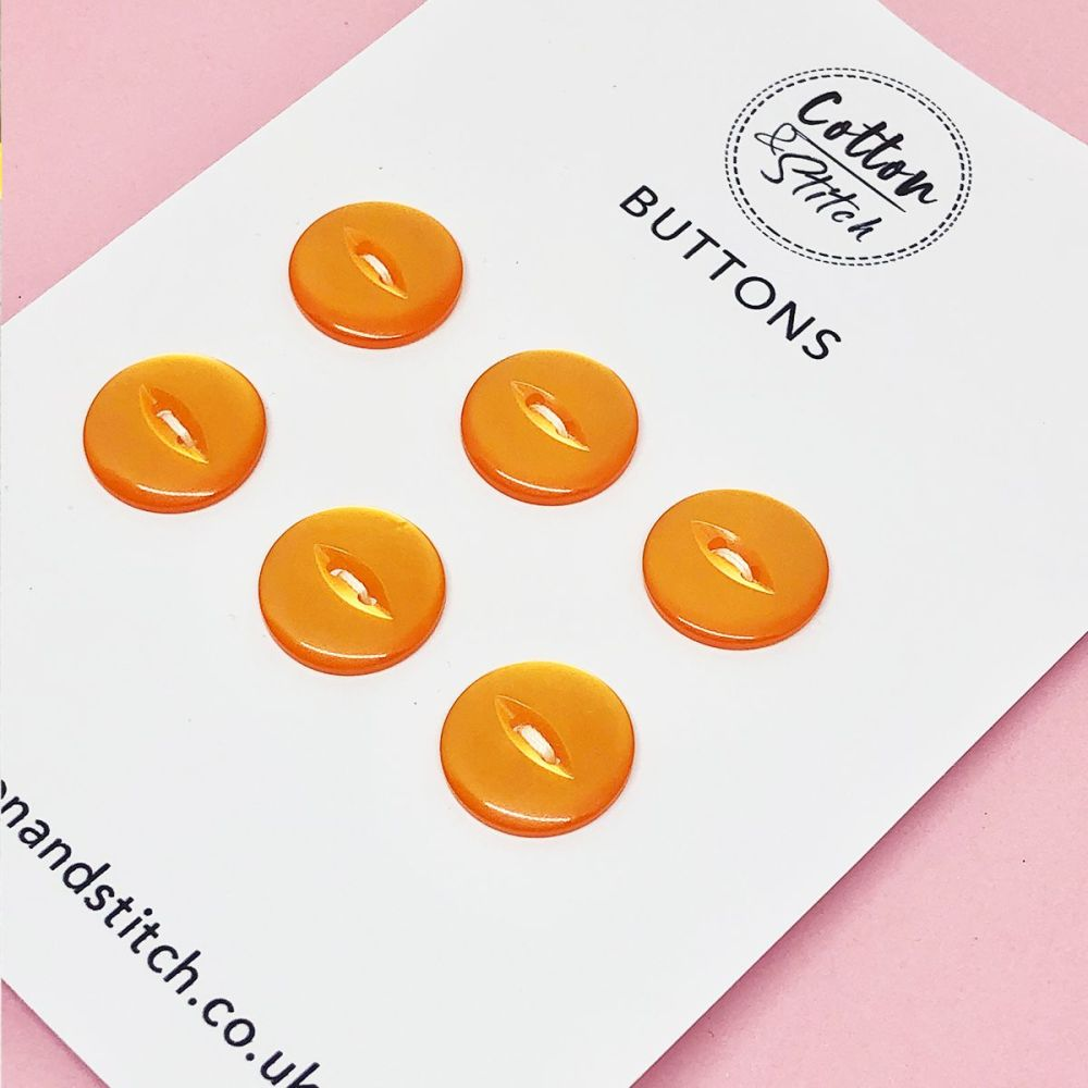 6x Orange Shiny Buttons - 1.9cm Diameter