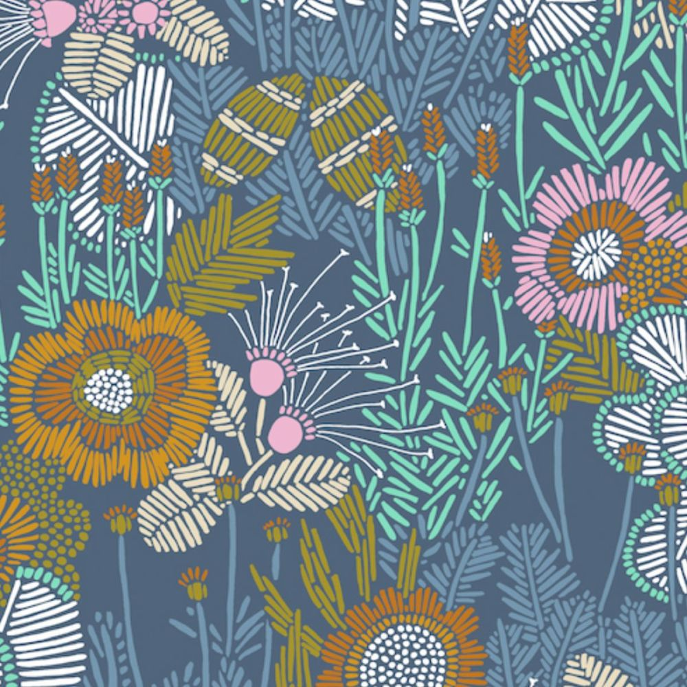 Cloud 9 - Grasslands 100% Organic Cotton Fabric - Embroidered Floral
