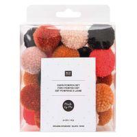 Yarn Pom Pom Set - 24 Pieces - Orange & Black