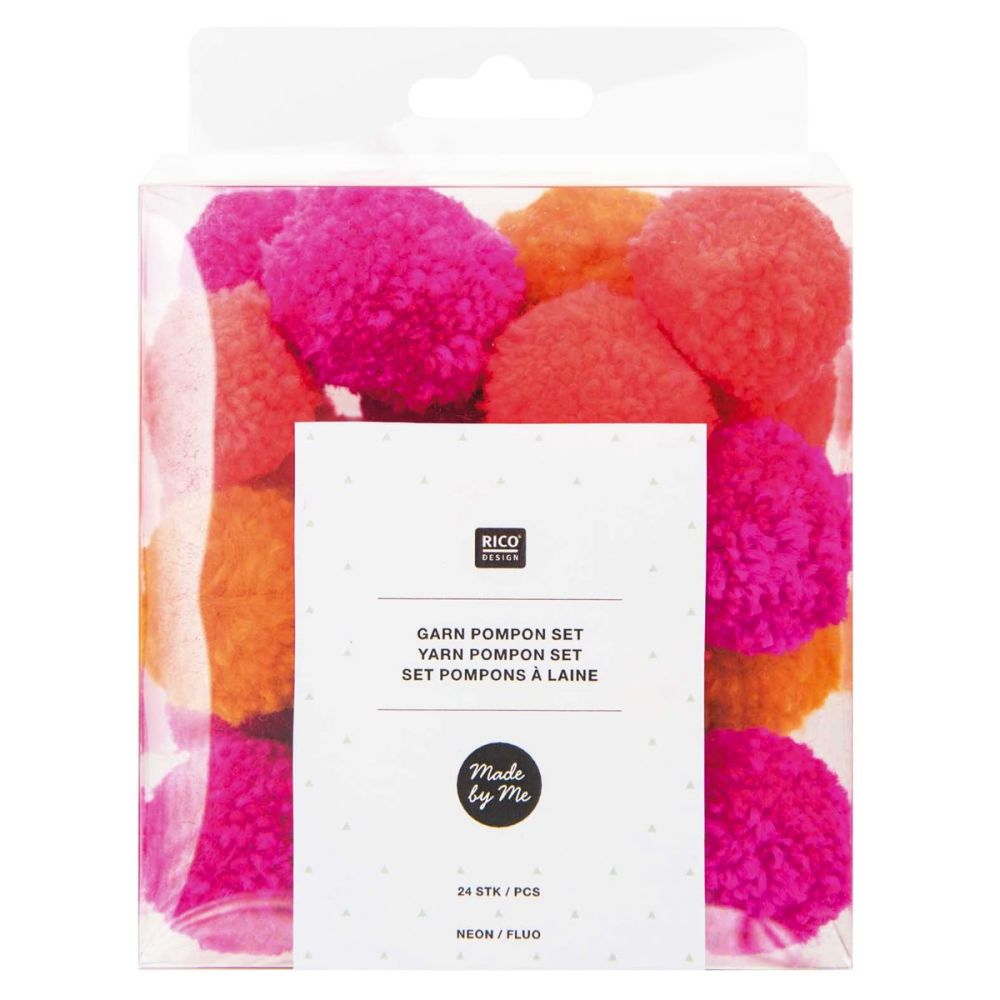 Yarn Pom Pom Set - 24 Pieces - Neon Mix