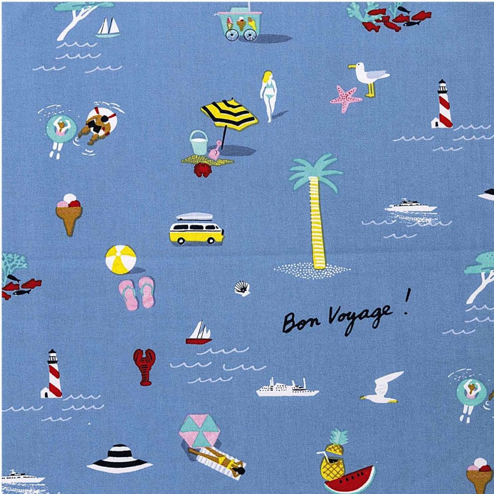 Rico Design - Bon Voyage 100% Cotton Fabric - Blue