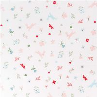 Rico Design - Meadow with Hares 100% Cotton Fabric - White