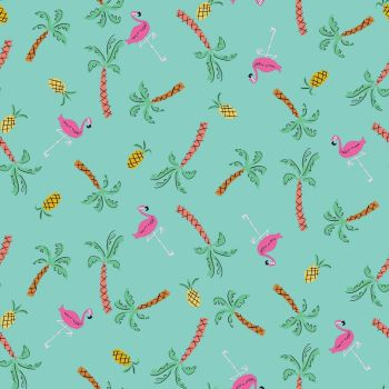 Dashwood Studio - Lazy Days 100% Cotton Fabric - Flamingo Aqua