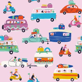 Dashwood Studio - Lazy Days 100% Cotton Fabric - Road Trip Pink