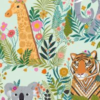 Dashwood Studio - Our Planet 100% Cotton Fabric - Animal Kingdom Green